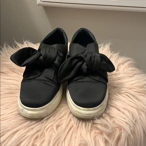 Shelly's London Black Bow Tie Slip Ons